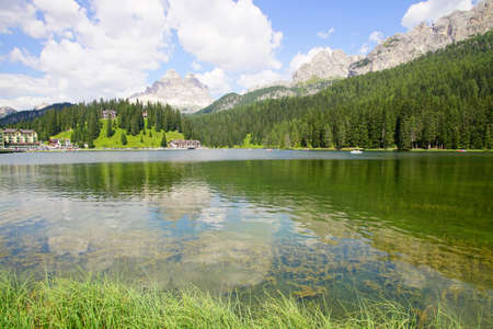 Mountains surround Lake Misurina in the Dolomite Alps near Toblach, Italy