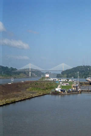 Giant locks allow huge ships to pass through the Panama Canal Banco de Imagens