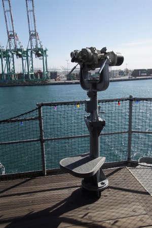 Mounted binoculars on the deck of USS Iowa BB-61, San Pedro, California