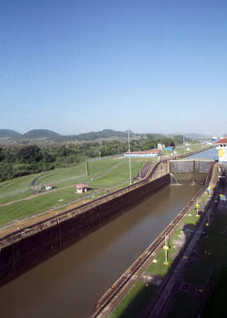 PANAMA CANAL - DEC 16, 2017 - Giant locks allow huge ships to pass through the Panama Canal Editorial
