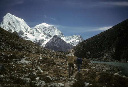 High peaks and glaciers in the Khumbu Himalaya,Nepal, Asia Stock Photo