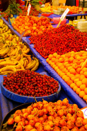Variety of fresh fruit  in the central market of Canakkale, Turkey Stock Photo