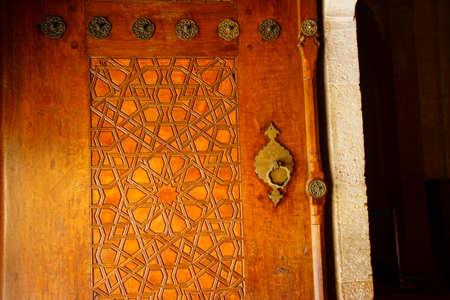 EDIRNE, TURKEY - MAY 2, 2018 -Carved door of Sinans Selimiye Mosque, 16th century,  in Edirne,Turkey Editorial