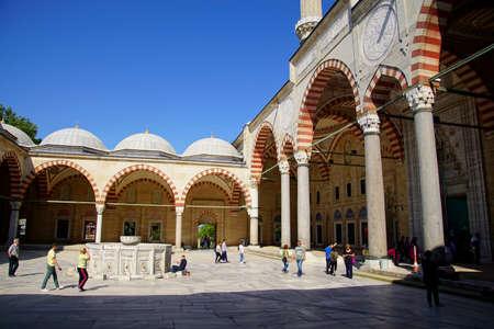 Interior courtyard and arcade of  Sinans Selimiye Mosque, Edirne,Turkey