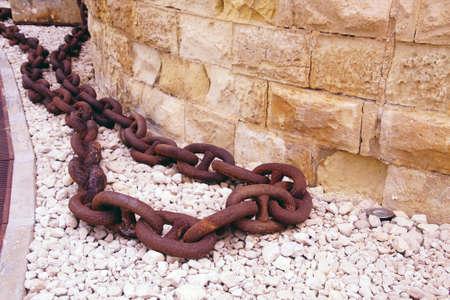 Large anchor chains at Fort St Elmo, Valletta, Malta
