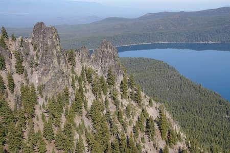 Caldera and Paulina Lake, aerial view from Paulina Peak, Newberry National Volcanic Monument, Oregon