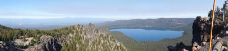 Caldera and Paulina Lake, panorama aerial view from Paulina Peak, Newberry National Volcanic Monument, Oregon