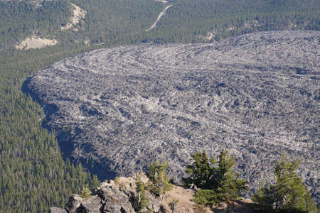 Big Obsidian Flow, aerial view from Paulina Peak, Newberry National Volcanic Monument, Oregon Stock Photo