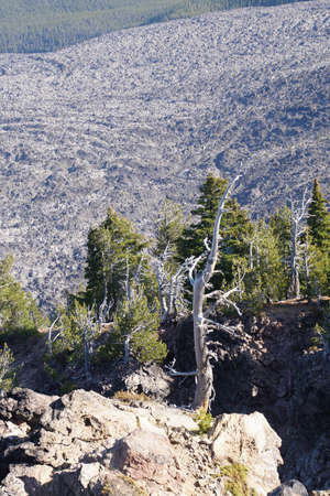 Big Obsidian Flow, aerial view from Paulina Peak, Newberry National Volcanic Monument, Oregon Stock Photo - 115048147
