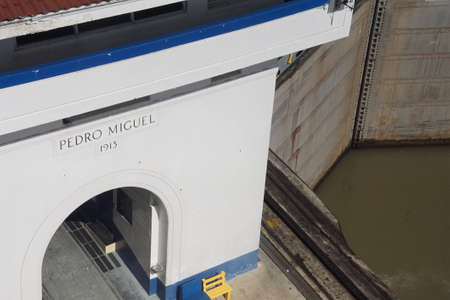 PANAMA CANAL - DEC 16, 2017 - Administration building  of the San Miguel lock on the Panama Canal