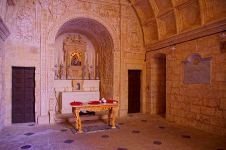 VALLETTA, MALTA - APR 10, 2018 - Limestone Altar of Chapel of Saint Anne in Valletta, Malta 報道画像