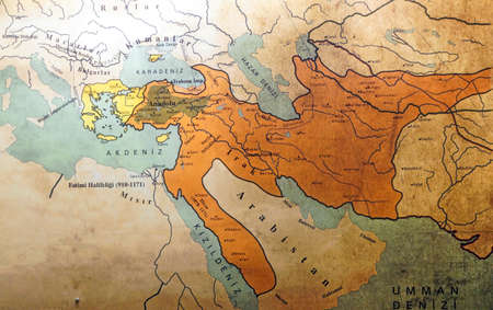 ISTANBUL, TURKEY - MAY 16, 2014 - Map of the Ottoman Empire, Askeri Museum, Istanbul,  Turkey 에디토리얼