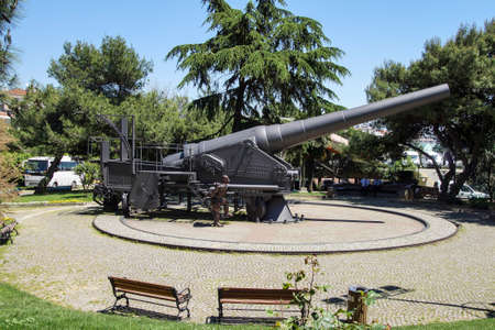 ISTANBUL, TURKEY - MAY 16, 2014 - Huge siege cannon from World War I,  Askeri Military Museum in Istanbul, Turkey