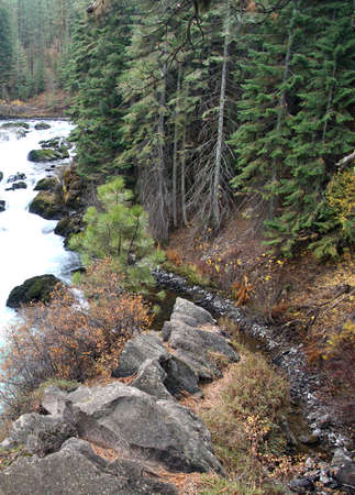 Whitewater of Benham Falls, Deschutes River Trail, Bend, Oregon Stok Fotoğraf