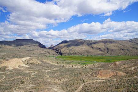 Erosion reveals ignimbrite volcanic ash deposits in central Oregon Stock Photo