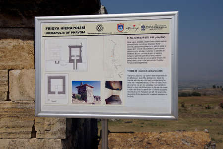 PAMUKKALE, TURKEY - MAY 27, 2014 - Archaeology map of the ruins of necropolis, Hierapolis, Turkey