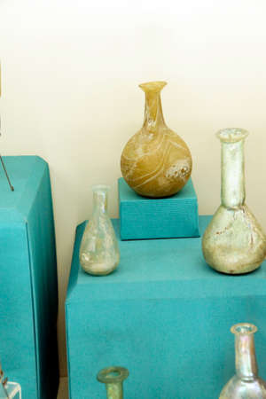 ANTALYA, TURKEY - JUN 2, 2014 - Roman glass vessels found near  Antalya,  Turkey