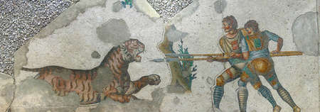 ISTANBUL, TURKEY - MAY 16, 2014 -  Tiger defending itself against hunters, mosaic scene, Great Palace Mosaic Museum,  in Istanbul, Turkey Editorial