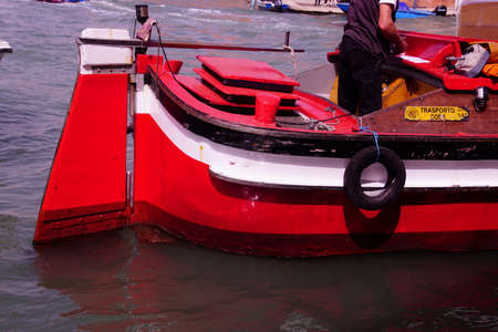 MURANO, ITALY - APR 16, 2018 - Traditional working boat of the Venice lagoon, Murano Venice, Italy