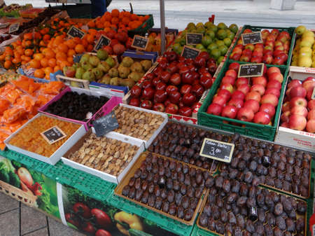 GENEVA, SWITZERLAND - FEB 24, 2018 - Fresh fruit in a weekly market in Geneva, Switzerland