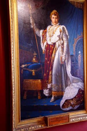 AJACCIO, CORSICA - APR 24, 2018 - Portrait of Napoleon as Emperor, Palais Fesch, Ajaccio Corsica, France