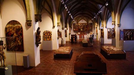 MUNICH - JUL 22, 2018 - Medieval paintings and sculpture hall in the Bavarian National Museum, Munich, Germany
