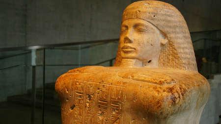 MUNICH - JUL 21, 2018 - Seated funerary figure in Egyptian Museum, Munich, Germany Editorial