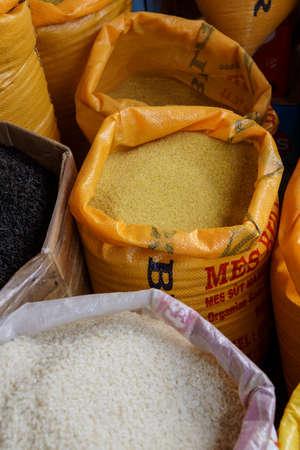 DIYARBAKIR, TURKEY - JUN 9, 2014 -Sacks of bulgar wheat and coos coos in the market of  Diyarbakir, Turkey