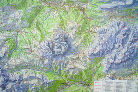DOLOMITES, ITALY - AUG 6, 2018 - Topographic trail map of the Dolomites Alps, Italy Stock Photo - 112377325