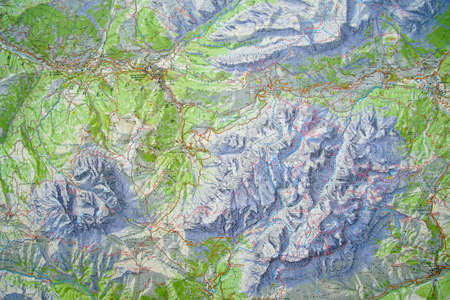 DOLOMITES, ITALY - AUG 6, 2018 - Topographic trail map of the Dolomites Alps, Italy
