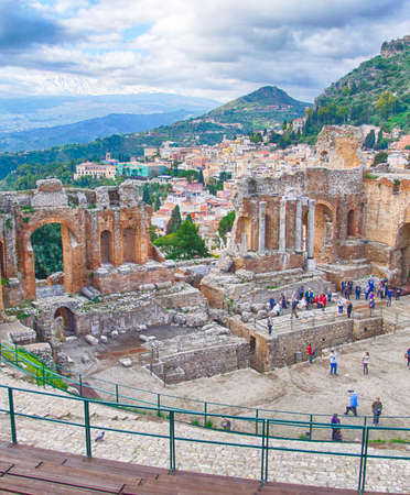 TAORMINA, SICILY - NOV 29, 2018 - Greco-Roman theatre overlooking the sea in Taormina, Sicily, Italy Editorial
