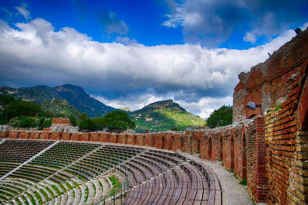 Greco-Roman theatre overlooking the sea in Taormina, Sicily, Italy