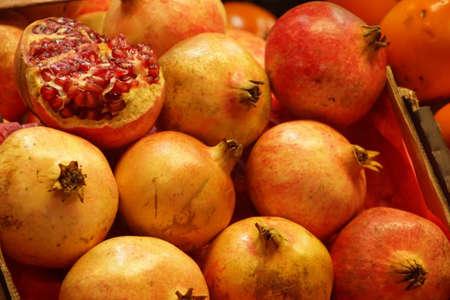 Fresh pomegranates, Mercado de Atarazanas (Shipyard market ) Malaga, Spain