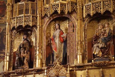 MALAGA, SPAIN - NOV 24, 2018 - Altar in the chapel of Saint Barbara, Cathedral of Malaga, Spain