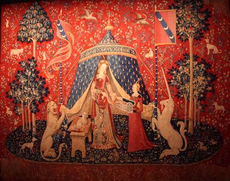 PARIS - DEC 7, 2018 - Lady and the Unicorn tapestry in the Cluny Museum de Moyen Age, Paris, France Redakční
