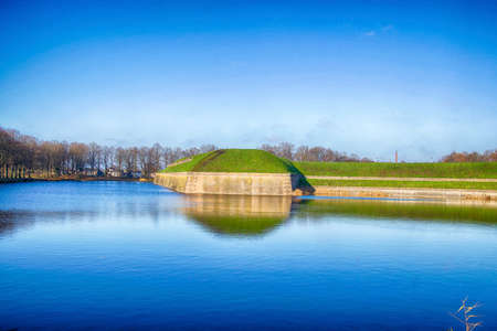 Double moat of the fortified town of Naarden, Netherlands