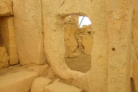 HAGAR QIM, MALTA - NOV 30, 2018 - Interior entryway in the neolithic temples of Hagar Qim, Malta