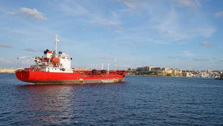 Small tanker ship in the Grand Harbor of Valletta, Malta