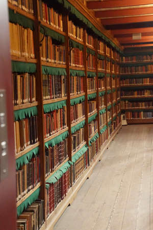 AMSTERDAM, NETHERLANDS - DEC 14, 2018 - Book stacks in the library of the Rijks Museum, Amsterdam, Netherlands