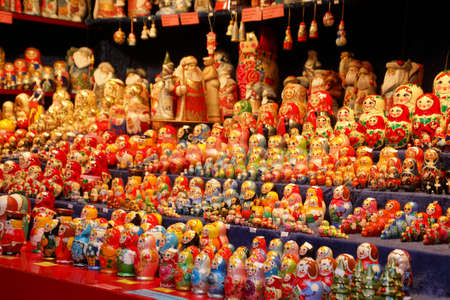 Matryoshka nesting dolls at the Christmas market,Cologne, Germany