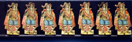 PARIS - DEC 5, 2018 - Vintage cardboard miniatures of Musketeers, Les Invalides Army Museum, Paris, France