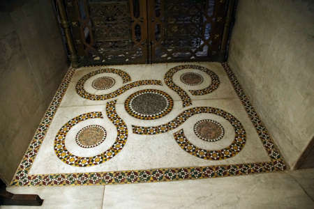 MONREALE, SICILY - NOV 28, 218 - Detail of inlaid marble Islamic patterns on floor of the  Cathredral Monreale, Sicily, Italy