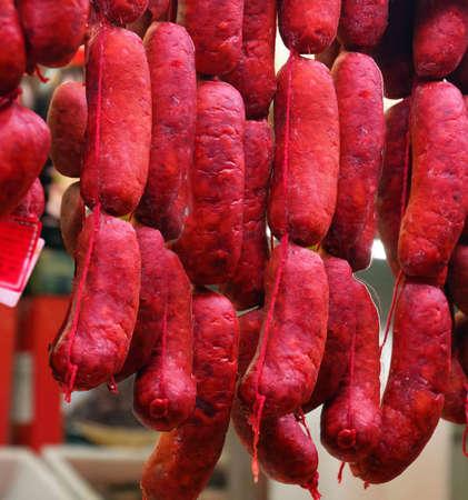 Hanging Spanish sausages, Mercado de Atarazanas (Shipyard market ) Malaga, Spain