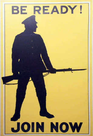 PARIS - DEC 5, 2018 - Be Ready, Join Now - World War I Recruiting poster, Les Invalides Army Museum, Paris, France