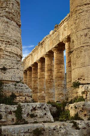 Doric columns of the unfinished Greek temple at Segesta, Sicily, Italy Archivio Fotografico - 115470864