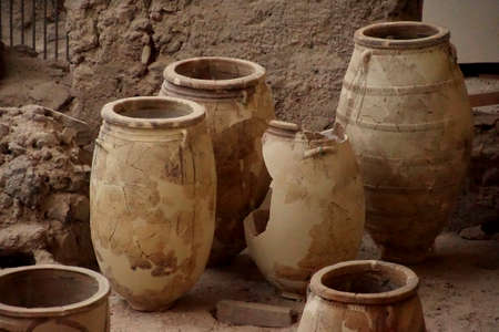 Ancient Greek pots and amphora discovered in the  ruins 0f Akrotiri on Santorini, Greece Editorial
