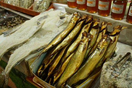 Salted fish in the covered market of Chania, Crete, Greece Redakční