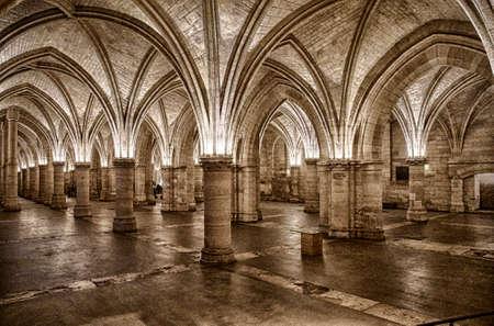 PARIS - DEC 7, 2018 - Gothic Great Hall of the Men-at-Arms, La Conciergerie, Paris, France