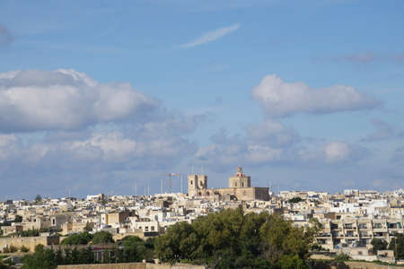 White washed buildings of Maltese village near Marsaxlokk, Malta
