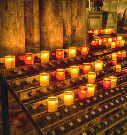 PARIS - DEC 7, 2018 - Votive candles in the Cathedral of Notre
